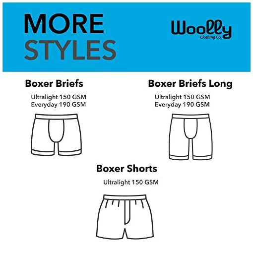 Wicking Breathable Anti-Odor Woolly Clothing Mens Merino Wool Classic Boxer Ultralight