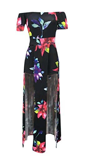 Long Split Tunic Stylish Pattern5 Bodycon Women Short Sleeve Coolred Dress Off Maxi Shoulder aT61qwx