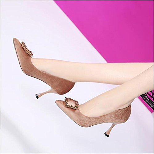 Apricot 7 Spring Women'S Shoes Party Colored Light Tie Leisure And Girl The Shoes Work Plush 5Cm Shoes 38 Port Single Water Fine Lady Wild MDRW Drilling Tip Elegant Heel High q1pIIX