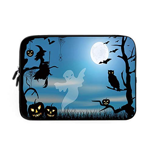 (Halloween Laptop Sleeve Bag,Neoprene Sleeve Case/Ghost Witch Owl Spider Web Bats Trees Fantastic Grange Forest at Night Decorative/for Apple MacBook Air Samsung Google Acer HP DELL Lenovo ASU)
