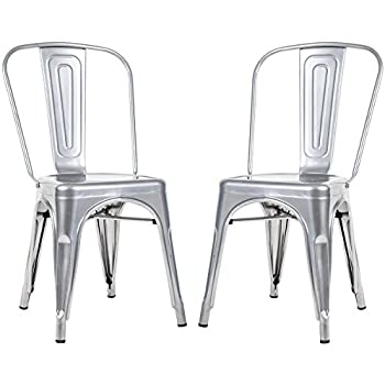 Amazon Com Belleze Set Of Vintage Style Dining Chairs Steel