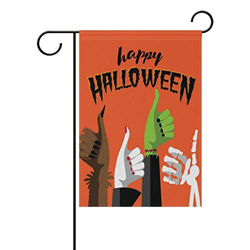 COCOBE Happy Halloween Werewolf Witch Zombie and Skeleton Hands House Flag Party Yard Decorative Double Sided Polyester Garden Flag Banner 12x18]()