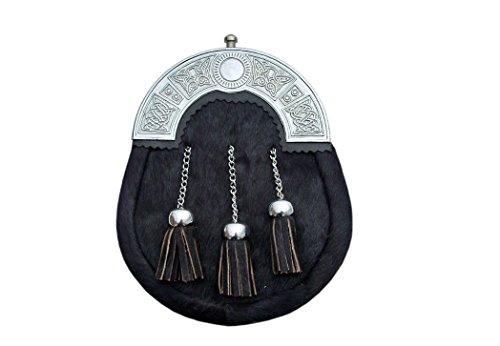 Black Cowhide 3 Tassel Leather Kilt Sporran & Belt