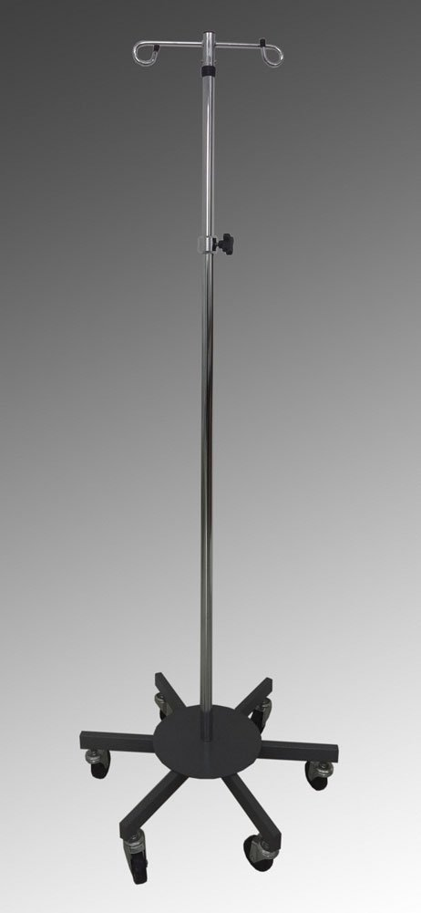 MediChoice IV Pole, Rolling, 2 Hook - 6 Leg, Chrome Plated, 45 lbs Load Capacity, 1314IVCR1011 (1 Each) by MediChoice (Image #1)