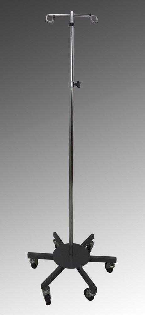 MediChoice IV Pole, Rolling, 2 Hook - 6 Leg, Chrome Plated, 45 lbs Load Capacity, 1314IVCR1011 (1 Each)