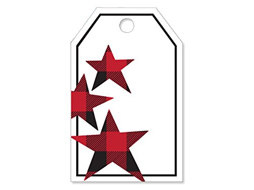 Pack Of 50, Buffalo Plaid Stars Gloss Printed die cut Gift Tag 2-1/4 x 3-1/2