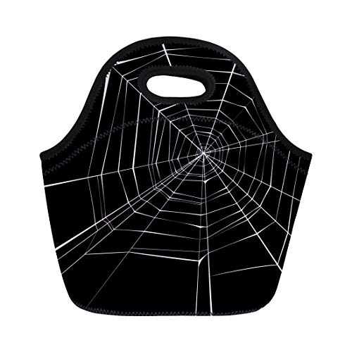 Semtomn Lunch Tote Bag Halloween Spider Pattern Black Horror White Line Insect Mesh Reusable Neoprene Insulated Thermal Outdoor Picnic Lunchbox for Men Women