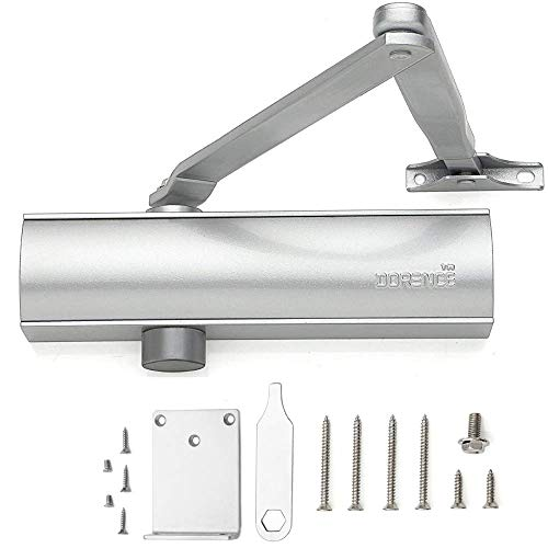 Heavy Duty Automatic Door Closer - Modern and Stylish Commercial Grade Hydraulic Operated - for Residential/Commercial Use Model DI 200S with Parallel ARM Bracket (Silver)