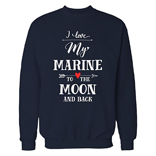 Inked Creatively I Love My Marine To The Moon And Back Cool Gift - Sweatshirt Navy_blue S My Boyfriend Is A Marine T-shirt