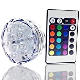 Eruner Submersible Multicolor LED Lights Underwater Pond Lighting / Fountain Lighting Base Vase RGB Light With Remote Control for Party Wedding Christmas Stage Holiday Decoration(1 pack)