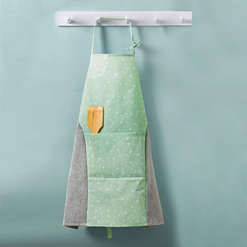 JS Bib Apron with Pocket - 2 Towels Stitched, Convenient and Adjustable, Japanese Style Design for Home Kitchen, Outdoor Grill, Restaurant and Even Garden Craft, Great for Women and Men -