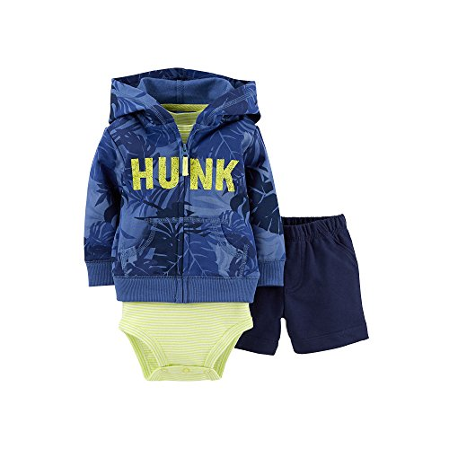 Carter's Baby Boys 3-Piece French Terry Hooded Cardigan Set (nb, Hunk) (Shorts Hooded Terry)