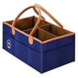 Diaper Bag Changing Table Combo Jem&Grace Baby Diaper Caddy Organizer - Unisex Baby Shower Registry Must Haves - Large Tote for Newborn Essentials, and Nursery Storage Bin for Changing Table and Car. Bag/Basket for Craft (Dark Blue)