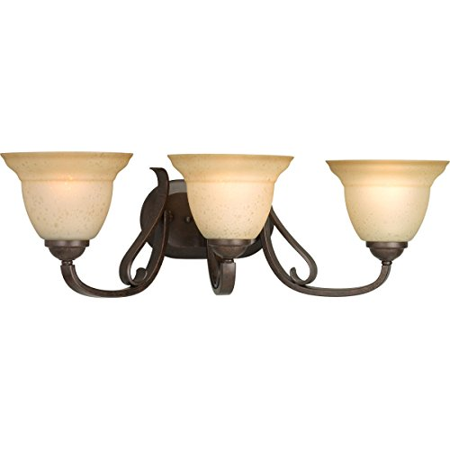 Progress Lighting P2883-77 3-Light Bath Bracket with Tea Stain Etched Glass, Forged Bronze ()
