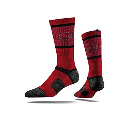 Strideline NCAA Arkansas Razorbacks Premium Athletic Crew Socks, Red, One - Arkansas Men