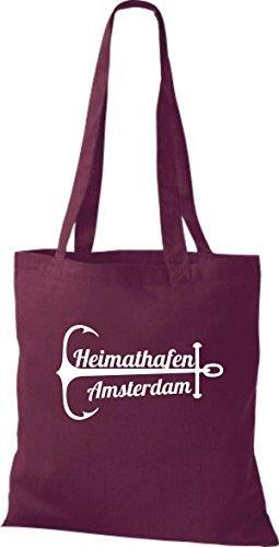 shirtinstyle Bolsa de tela bolsa de algodón heimathafen Amsterdam Burdeos