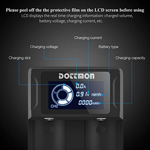 DOTTMON Intelligent LCD Display Universal Battery Charger for Rechargeable Batteries Li-ion 18650 18490 18350 17670 17500 16340(RCR123) 14500 26650 21700, Ni-MH/Ni-Cd A AA AAA SC C D Batteries