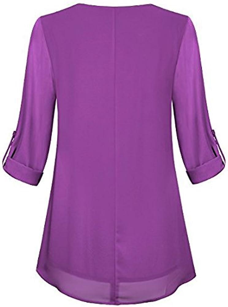 Camisetas Mujer Tunicas Elegantes Camisa De Gasa Manga Larga Cuello Redondo Moda Casual Color Solido Tul Chiffon Blusas Camiseta Tops Ropa Fiesta Moda: Amazon.es: Ropa y accesorios