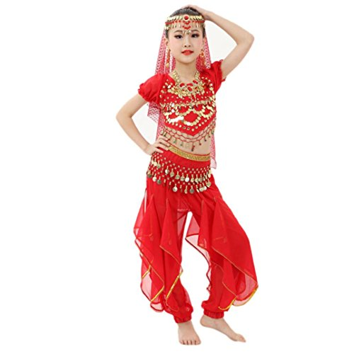 Allywit Handmade Children Girl Belly Dance Costumes Kids Belly Dancing Egypt Dance Cloth (S, Red)