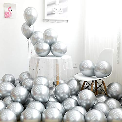 Silver Baby Shower Decorations (Metallic Silver Balloons 12 inch 50pcs Party Balloons Birthday Helium Balloon Chrome Latex)