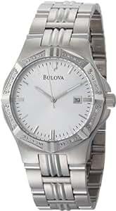 Bulova Men's 96E107 Diamond Case Silver Dial Bracelet Watch