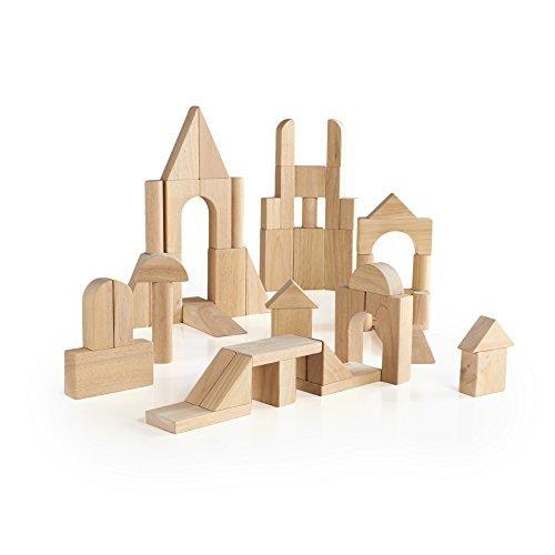 (Guidecraft Hardwood Unit Deluxe Building Block 76 Pieces - Kids Learning Preschool Educational Toy)