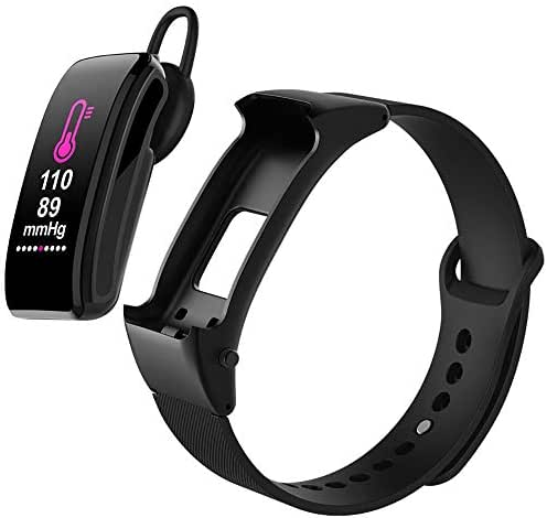 H&T Smart Bracelet, Color Screen Detachable Bluetooth Headset Bracelet Heart Rate Blood Pressure Monitor/Fitness Tracker -for Android/iOS/Bluetooth 4.0