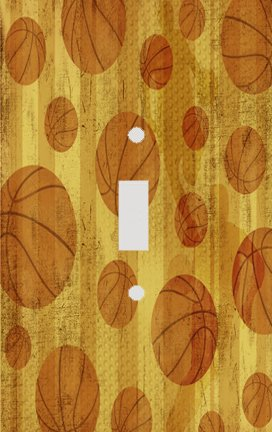 Basketball Gold Decorative Switchplate (Basketball Switchplate)