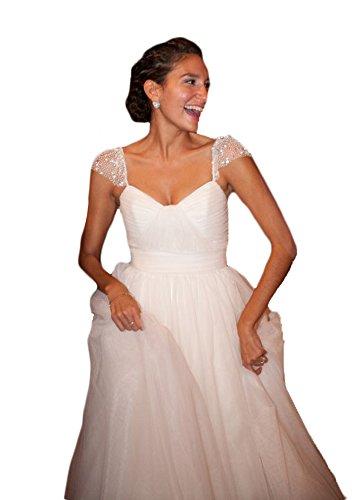 TBGirl A-line Beaded Cap Sleeve Empire Pleated Chffion Beach Wedding Dresses by TBGirl