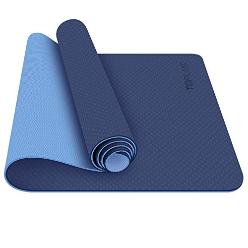 TOPLUS Yoga Mat, 1/4 inch Pro Yoga Mat TPE Eco Friendly Non Slip Fitness Exercise Mat with Carrying Strap-Workout Mat for Yoga, Pilates and Floor Exercises(Blue)