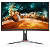 "AOC CQ27G2 27"" Super Curved Frameless Gaming Monitor QHD 2K, 1500R Curved VA, 1ms, 144Hz, FreeSync, Height Adjustable, 3…"