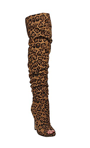 Liliana Peep Toe Dij Hoge Stiletto Slouch Laars Opus5 Leopard