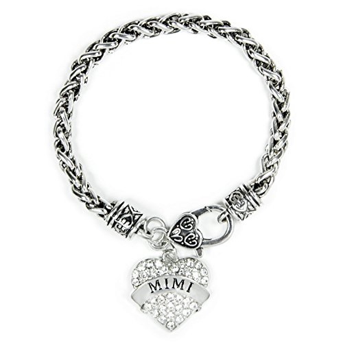 Family Classic Silver Plated Pave Heart Clear Crystal Charm Bracelet (Crystal Plated Charm)