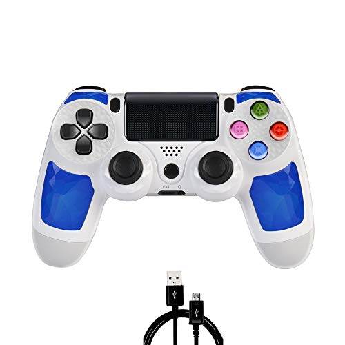PS4 Controller MOVONE Wirelles Controller with USB Cable for Sony Playstation 4 (White+Blue)