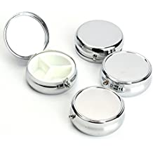 Bekith Silver Pill Box Medicine Case for Pocket or Purse, Set of 4