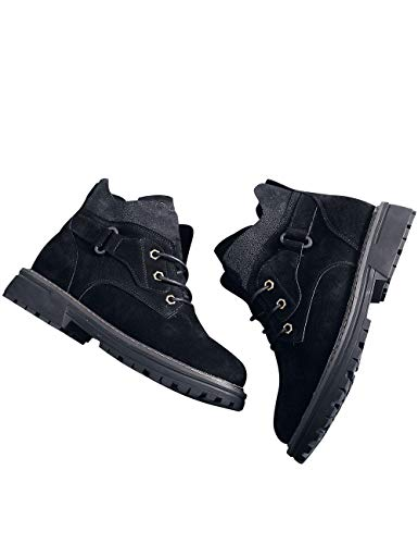 Femmes Lacets Martin À Noir Youlee Casual Chaussures Bottines Bottes Cuir 1gq44wOP