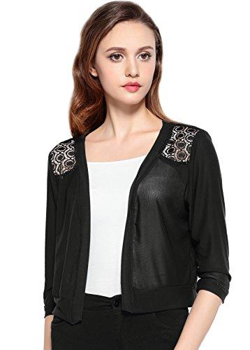 Chic Queen Women's Long Sleeve Sheer mesh Casual Cover up Jacket Outwear Shrug Bolero (S/BK/S1)