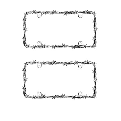 Barbed Wire II Chrome License Plate Frame - 2 Pack: Automotive