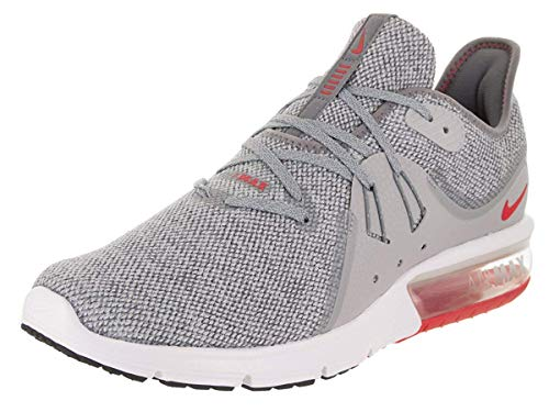 Nike Air Max Sequent 3 Size 11 Mens Running Cool Grey/University Red-Wolf Grey Shoes (Nike Air Max For Men Size 11)