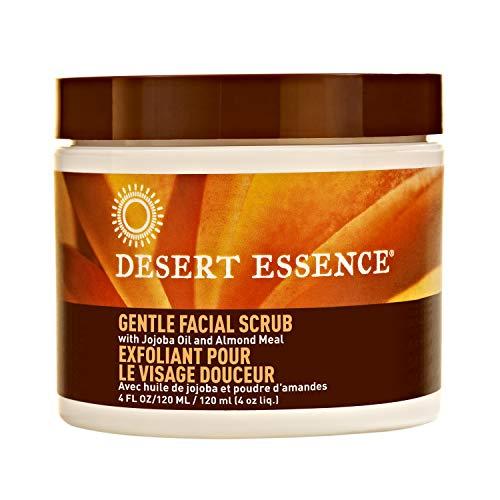 Desert Essence Gentle Facial Scrub - 4 Fl Oz -  Jojoba Oil - Almond Meal - Oat Buff Skin - Aloe Vera - Cucumber - Removes Dead Skin Cells, Unclogs Pores - For Radiant Skin - Exfoliating Scrub ()