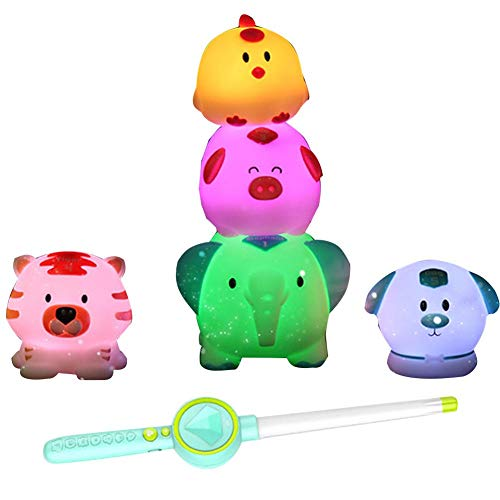LED Light Up Sticks, Light Up Floating Rubber Animal Toys Set,Magical Jungle: Original Jungle Inspired Toy,Music Toys for Early Learning Educational Animal Voice Toy-The Best Chrismas Gift. -