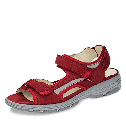 Waldläufer 361002 768 389 Herki Damen Sportive Sandale Aus Nubukleder Weite H Rot