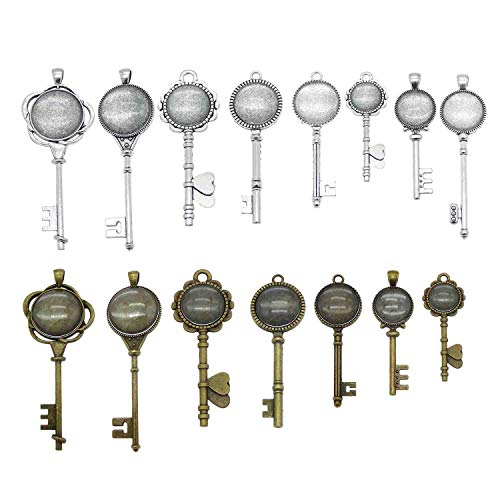 - 12 Sets Assorted Skeleton Key Bronze Silver Setting Pendant Tray Bezel Blanks with Glass Cover Cabochons for Jewelry Making