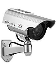 Fake Security Camera Dummy Camera Simulated Surveillance Camera with Flashing Light Indoor Outdoor Use for Home Business Warning Security
