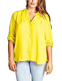 TL Women's Plus Size Printed Henley Necked Roll Up Sleeve Blouse Shirt Top