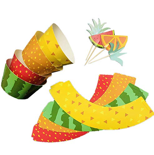 Betop House Set of 12 Pieces Tropical Summer Hawaii Themed Party Juicy Fruits Watermelon Orange Strawberry Laua Pineapple Kids Birthday Baby Shower Ourdoor Donut Cake and Cupcake Decorative Topper and Wrappers Kit Party Supplies by BETOP HOUSE