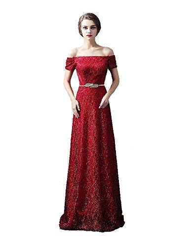 aus Emily Ausschnitt lange Pailletten Kurzschluss Hülsen der Maxi Rot Kleid Abend Boot Wein Beauty Schulter xqwRYTFT