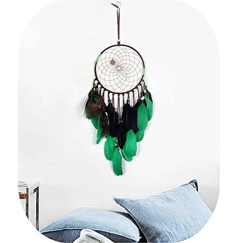 CHICIEVE Dream Catcher Green Bohemian Peacock Feather Decor Hanging Home Wedding Ornaments- 7.8
