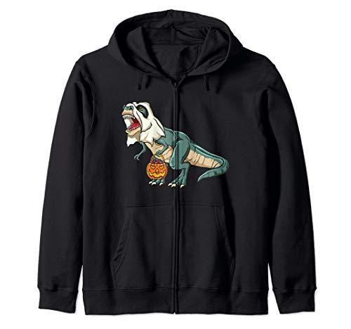 Trex Ghost Costume Funny Halloween Dinosaur Zip Hoodie -