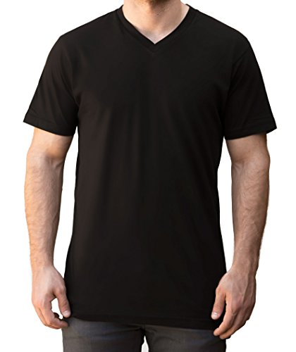Price comparison product image V Neck T Shirts for Men Short Sleeve 100% Cotton Black White S-XL Plyn Apparel (Black,  S)